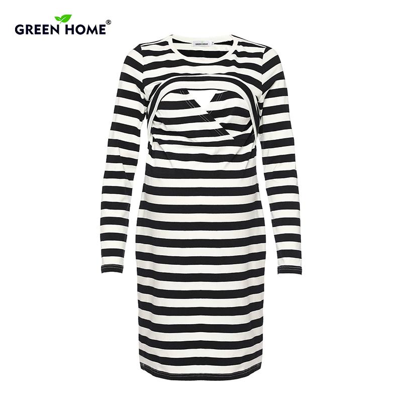 e2936deffc19 Casa verde A Strisce Di Maternità Vestito Elegante ufficio Vestito Le Donne  In Gravidanza Allattamento Al