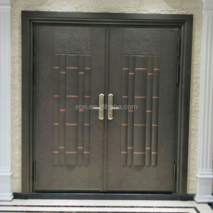 Security casting aluminum single entrance door with solid wood/swing aluminum main entrance door