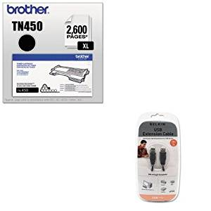 KITBLKF3U134V10BRTTN450 - Value Kit - Belkin Pro Series High-Speed USB 2.0 Extension Cable (BLKF3U134V10) and Brother TN450 TN-450 High-Yield Toner (BRTTN450)