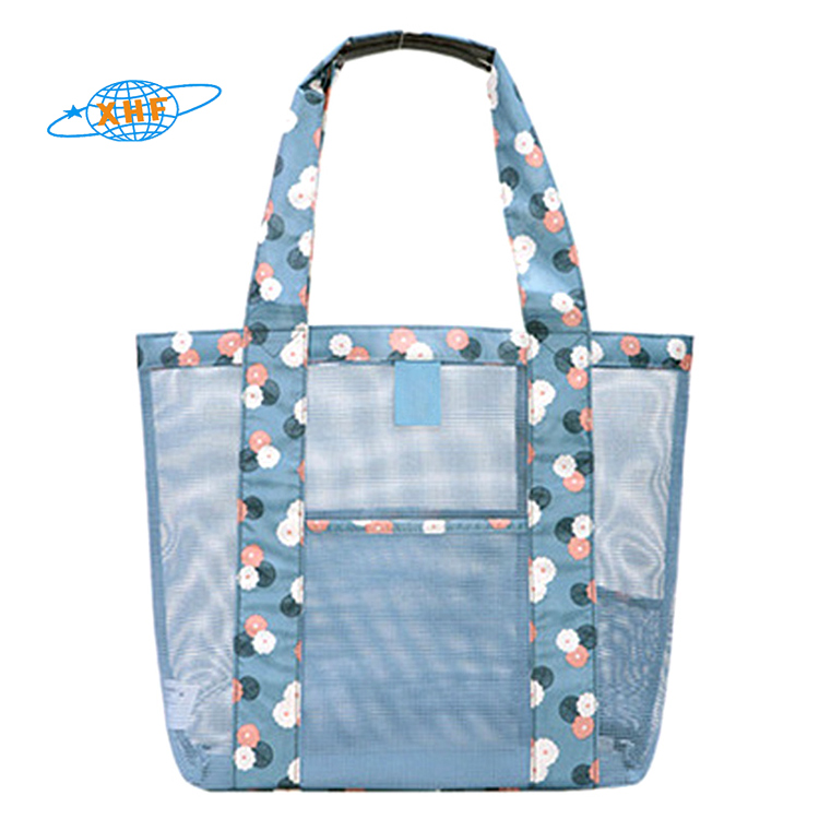 2020 fashion summer large polyester mesh clear beach tote bag with pattern detail