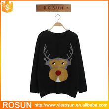 fashion christmas reindeer couple pullover shirt collar sweater