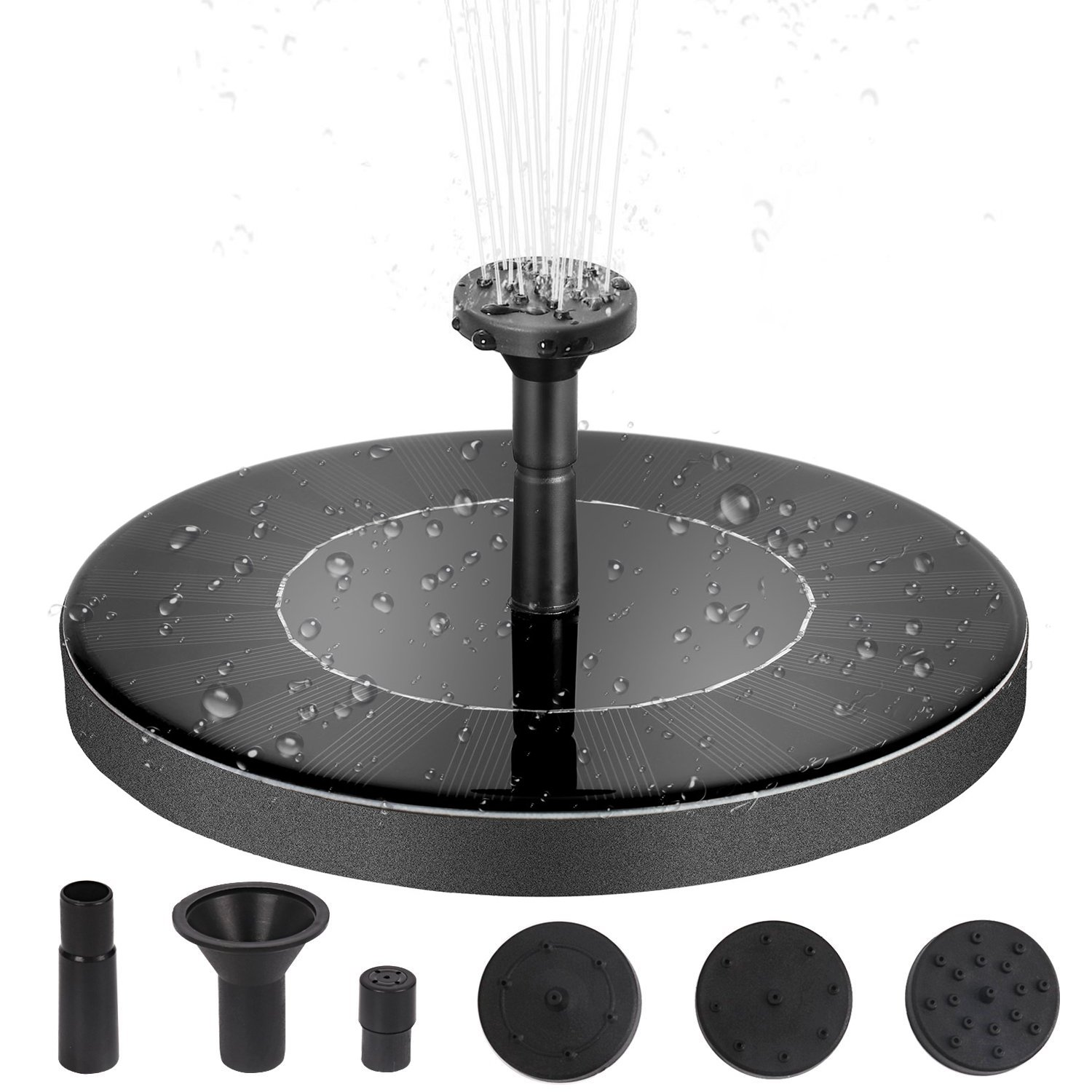 Solar Powered Fountain Pump Built-in Battery, Upgraded Solar Power Bird Bath Free Standing Water Pump Panel Kit - Artificial Outdoor Fountain Watering Submersible Pump for Pond, Pool, Garden,Fish Tank