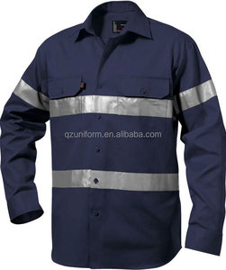 Custom Button Front Work Shirts Cotton Drill Work Shirt Breathable Reflective Safety Work Shirt