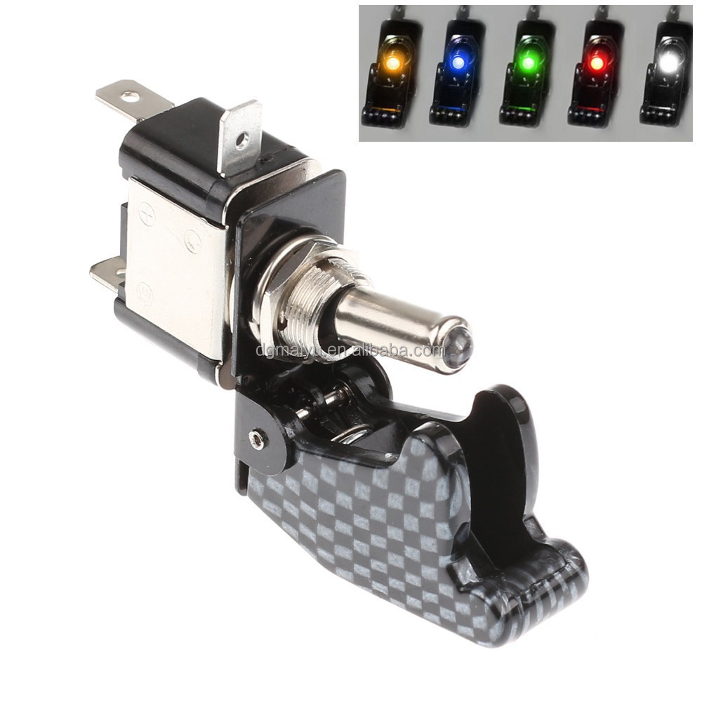 12V 20A Car Truck Carbon Fiber LED Toggle Switch Light Racing SPST 5 Colors Car Auto Cover Toggle Switch Rocker Control