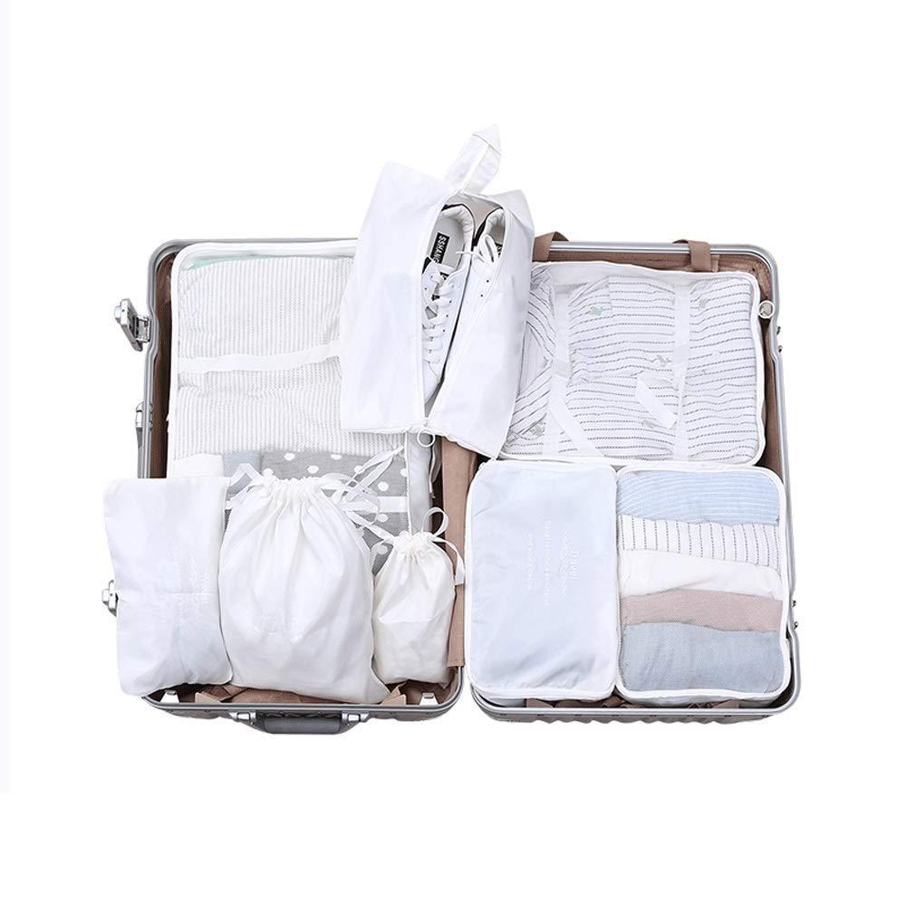7-Piece Travel Storage Bag Set Suitcase Clothes Travel Waterproof Shoes Storage Bag (Color : White)