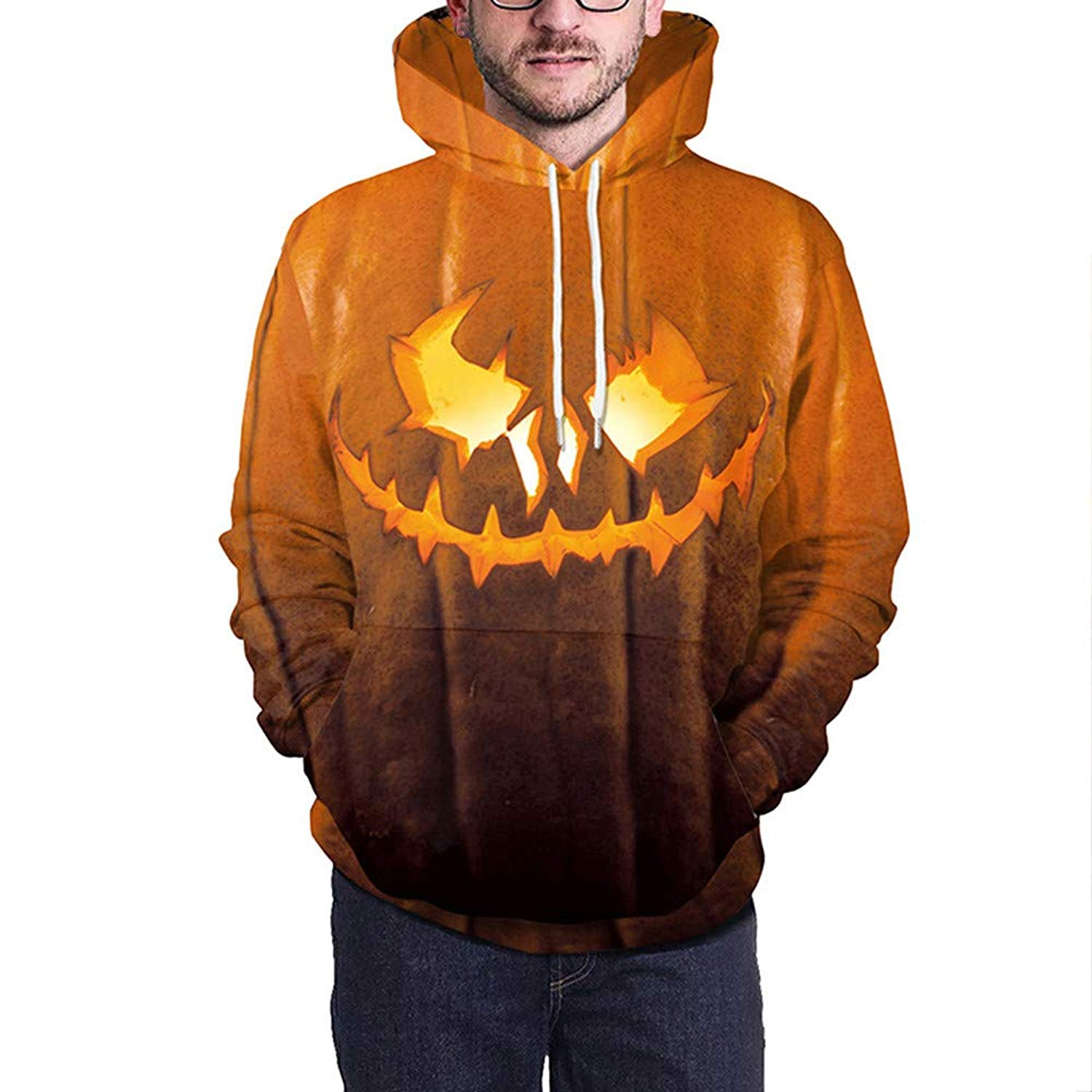 POTO Halloween Sweatshirt,Mens Pumpkin 3D Print Hoodie Sweatshirts Jumper Hooded Pullover Party Tops Blouse Shirt