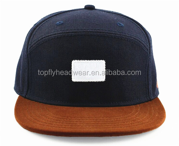 fd88183691c Navy Blue and Brown Flat Brim 6 Panel Custom Snapback Hat Special Shape Snapback  Hat