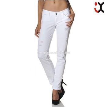 de moda caliente 2015 blanco mujer vaqueros JXW062 rasgados chica pantalones Denim algodón HUXw4qwZ