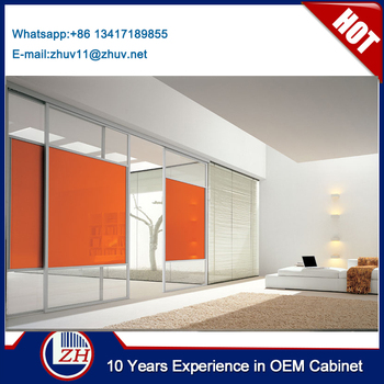 China Made Orange Color Frosted Glass Sliding Closet Doors Cheap