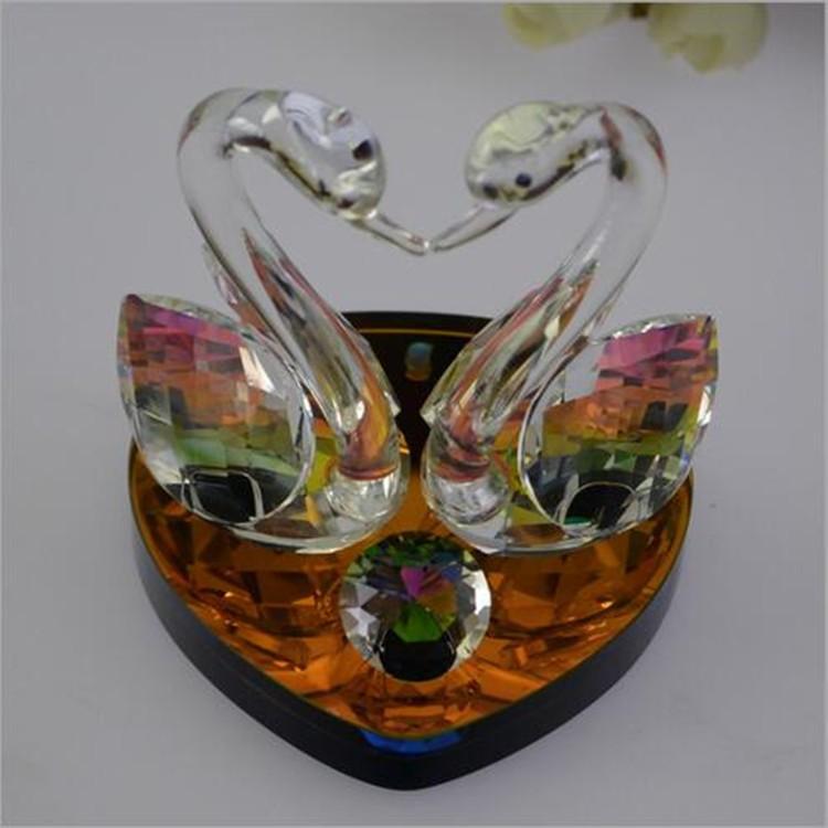Swan Wedding Gift Return: Clear Crystal Swan Figurine,Souvenir Crystal Swan For