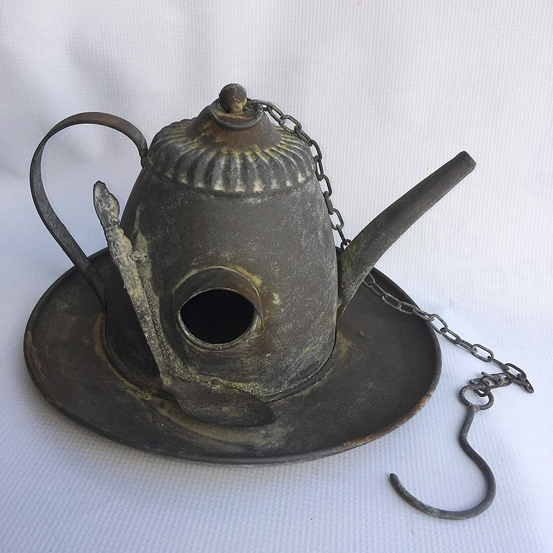 Sweet Home at Barter Post Hanging Tea Pot & Spoon Birdhouse - Cute Bird House - Metal - Distressed Rustic Look - Tea Kettle Vintage Style