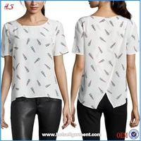 Clothing Manufacturer Latest Fashion Blouse Design Short Sleeve 100% Silk Blouse with Lipstick Print