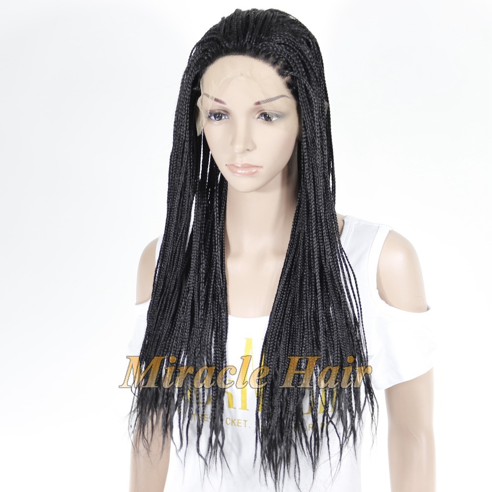 Cheap Braided Lace Front Wig Heat Resistant Fiber
