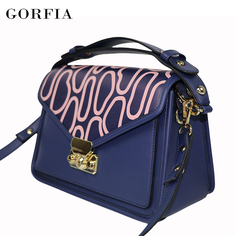 Guangzhou ladies fancy bag customized printed fashion accessories pu leather hand bags