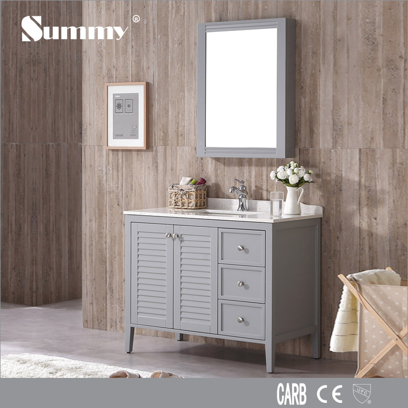 wooden bathroom furniture marble top floor vanity cabinet