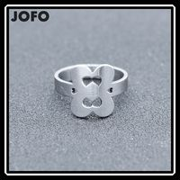 2016 fashion two of the cross love heart stainless steel sweetly ring