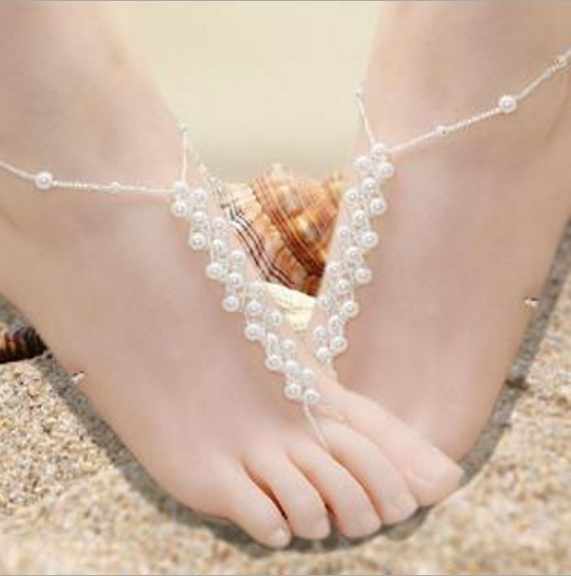 Explosions imitation pearl woven ladies anklets handmade double toe elastic body jewelry JFC01N