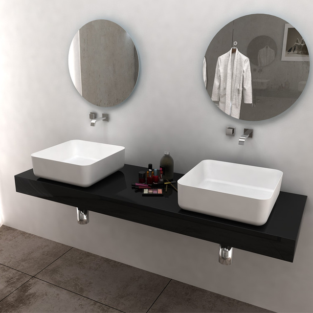 Attractive BS 8348 Square Bathroom Solid Surface New Modern Sink Wash Hand Basin