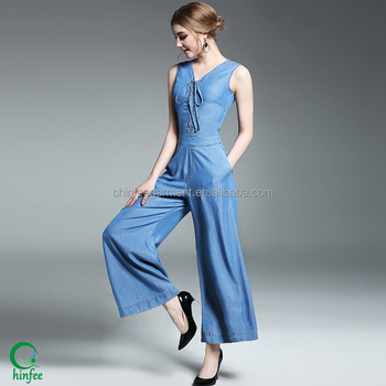 New Designer Sexy V Neck Wide Leg Cotton Denim Jumpsuits Women