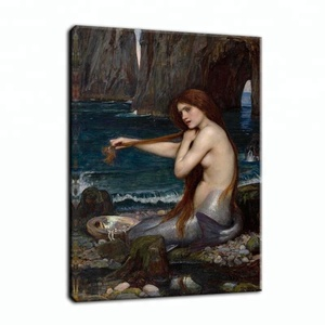 Replicate Famous Retro Oil Painting Beauty Nude Mermaid Canvas Print Wall Picture