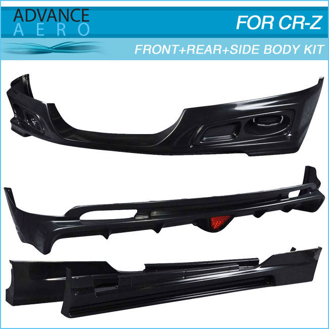 FOR HONDA CRZ 2DR 2011 2012 2013 2014 MUG ABS FRONT BUMPER LIP + REAR BUMPER LIP + SIDE SKIRT