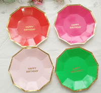 Disposable bronzing paper tray pink children's birthday cake plate party plate ten sided paper plates