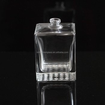 best selling New Excellent design transparent oblong empty perfume glass bottle with crimp neck,rectangular perfume glass bottle