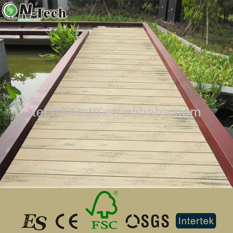 Lower water absorption & High UV resistance colormix woodgrain wpc decking