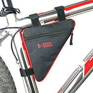 Bag On The Bicycle Frame. Black - Red. Bicycle Frame Bag - B-SOUL.