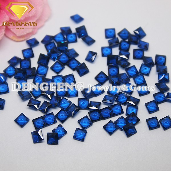 Top Quality Square Cut Lab Created Blue Sapphire