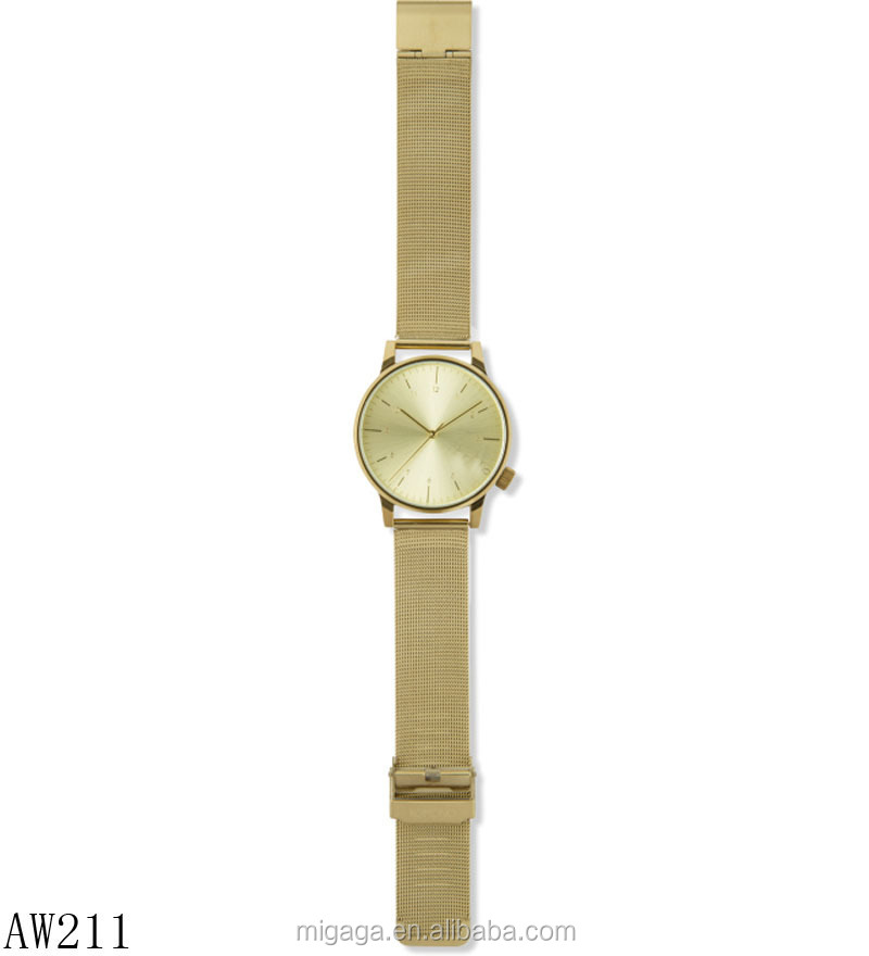 royal metal mesh strap gold plated quartz wrist watches men