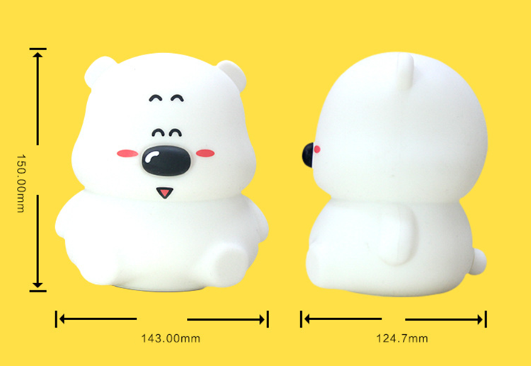 USB charging lithium battery cartoon Bear color changeable night lamp silicone led touch light