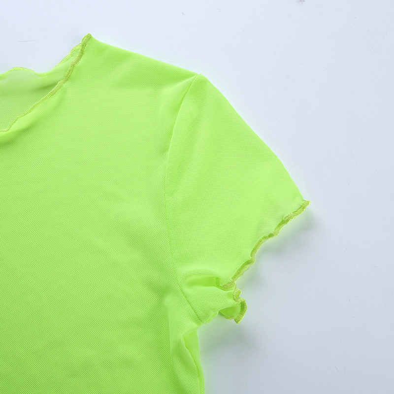Sexy Mesh Tops For Ladies Fluorescent Green Mesh Crop Tops Hollow Out Summer T-shirts Women Short Sleeve See Through Tee