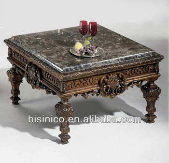 Charmant Luxury Spanish Style Living Room Square Hand Carved Wooden Coffee Table  Marble Table Top