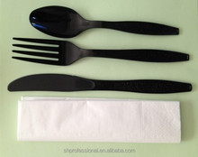 Plastic cutlery set including plastic spoon,knife and forks, matte finish