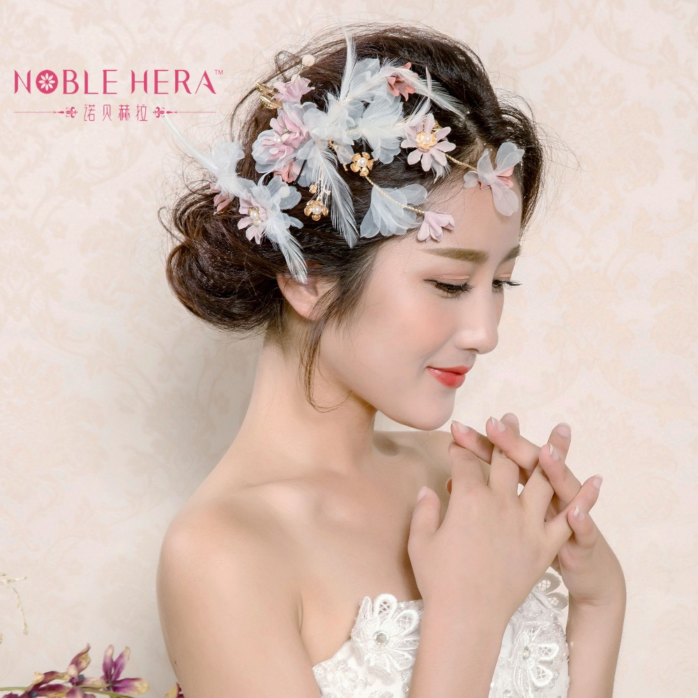 Beauty Bridal Hair Accessories Floral Feather Side Hair Clips For Woman Flower Hair Grips 138tz Buy Artificial Flower Headpiece Headdress Bridal