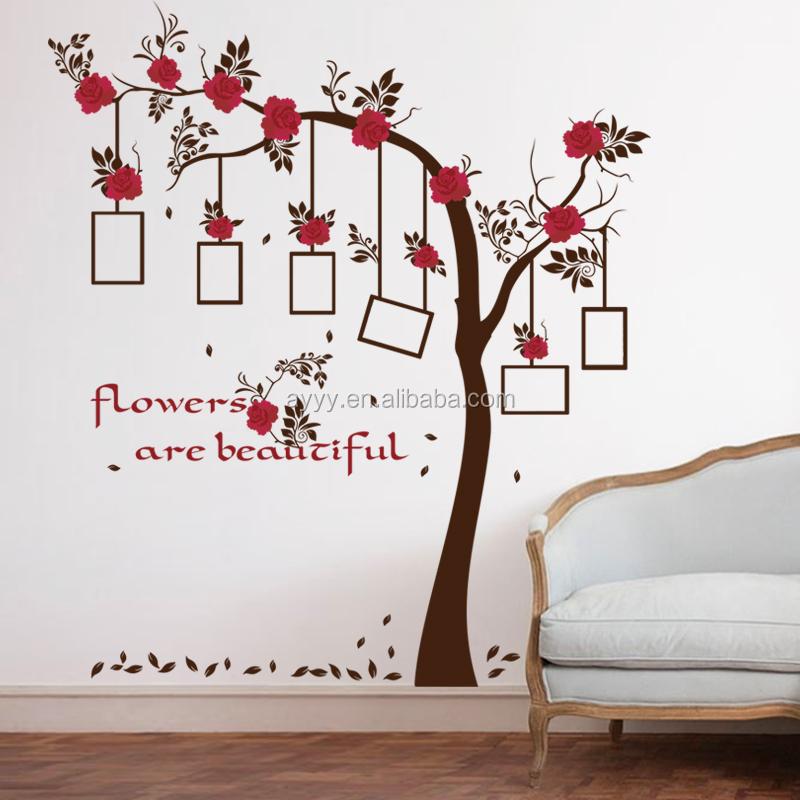 Sk9086 photo arbre et rouge fleurs bricolage accueil for Collant mural