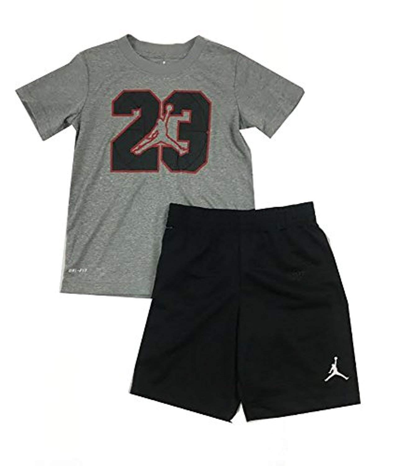 eb4673dfb484 Get Quotations · Jordan Jumpman 23 Logo Little Boys Tee Shirt and Shorts  Set Black Dark Heather Grey