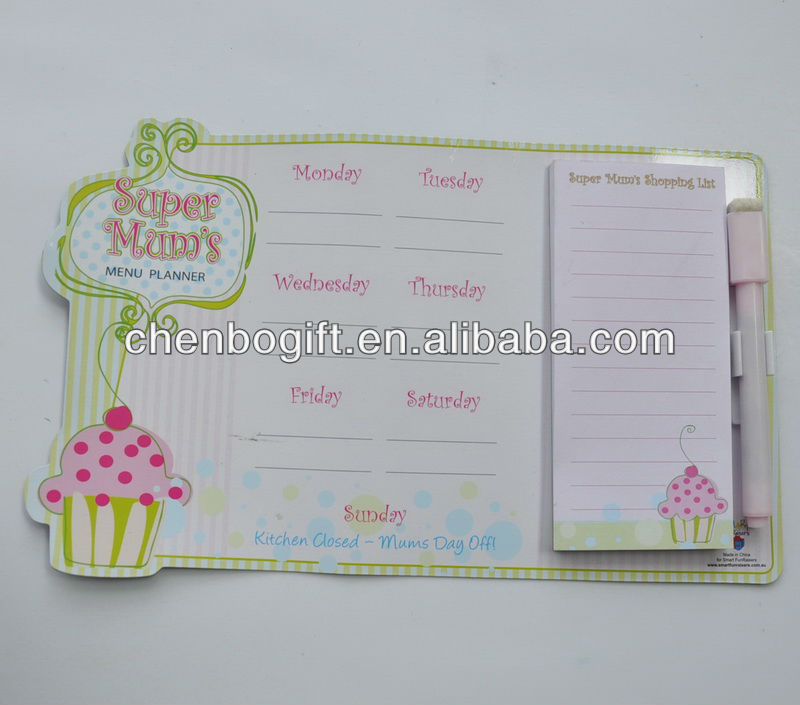 Hot sale Magnetic note pad board , magnetic board with memo pad , sticky note fridge magnet