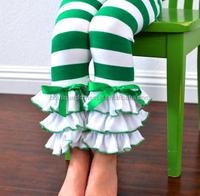 Green & White Striped Leggings with Large Triple Ruffles Girls Leggings Christmas Toddler Boutique Pants