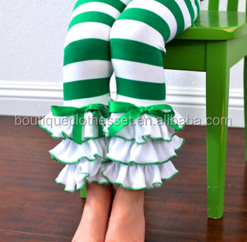 01bcb8c8ceaae Green & White Striped Leggings with Large Triple Ruffles Girls Leggings  Christmas Toddler Boutique Pants