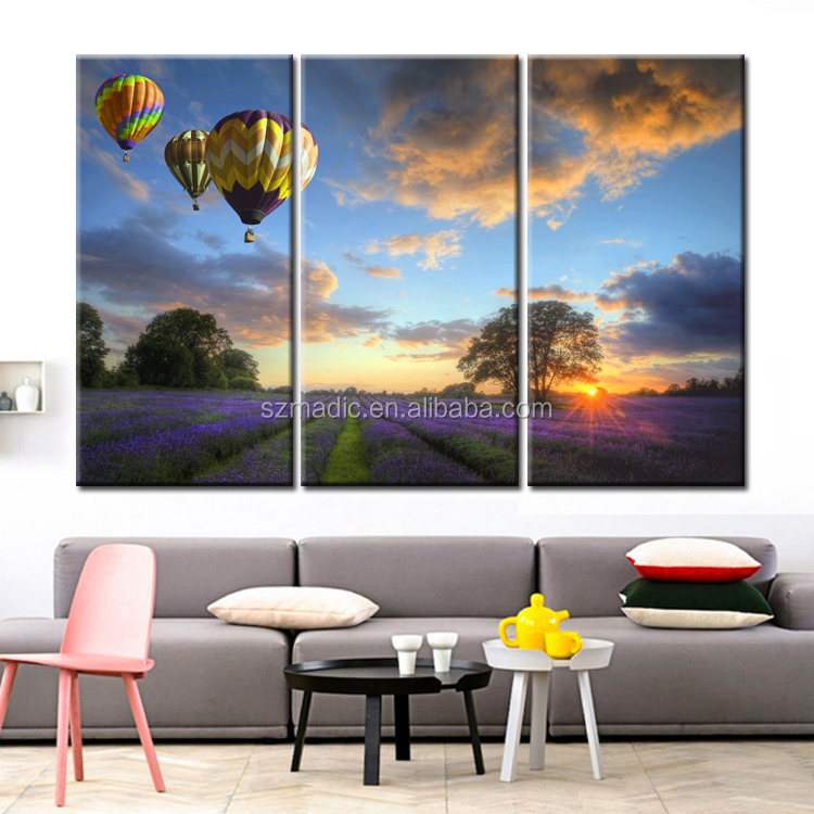 Modern Art Print 3 Panel Large Living Room Wall Painting Fire Ballon on Lavender Field Landscape Oil Painting Decorative Picture