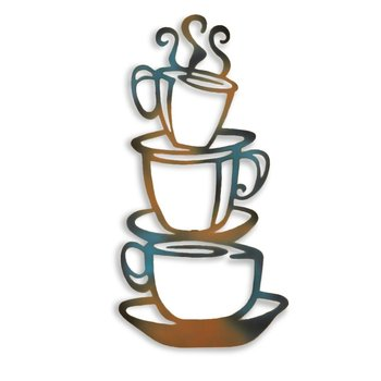 Metal Steaming Coffee Cups Cafe Kitchen Wall Art for Home Decoration