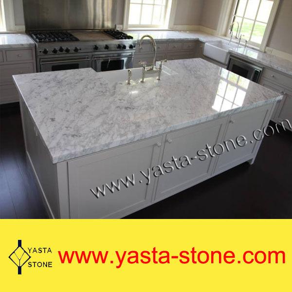 Goedkope natuurlijke witte carrara stenen keukentafel eiland werkbladen ijdelheid tops - Eiland keukentafel ...
