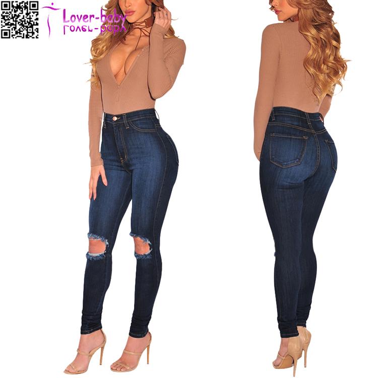 c7a16ea6e82ec Foncé denim Détruits Trous Zipper Slim Maigre Pantalon Jeans Déchirés L561