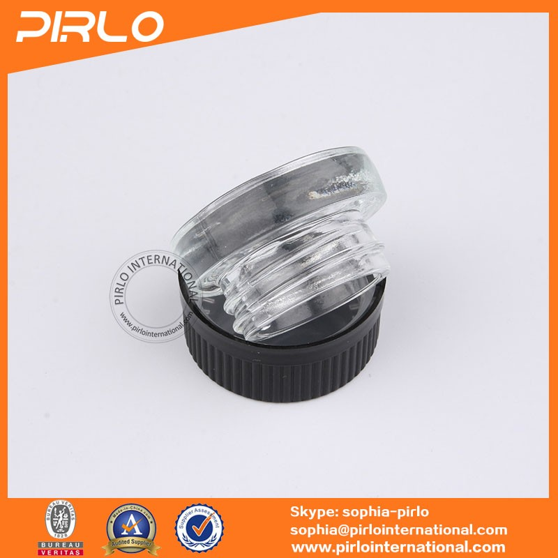 5g thick wall round shaped clear glass jar with plastic child proof cap pharmaceutical medicine use small glass jar