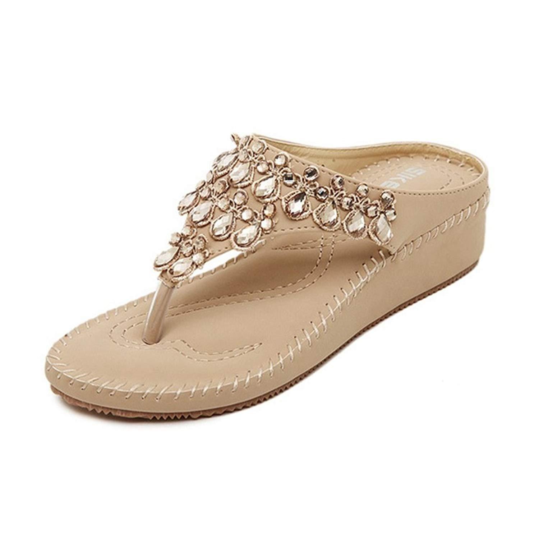 255825b3eecd65 ... CYBLING Fashion Women Bohemian Beach Sandals Slippers with Rhinestones  Comfort Flip Flops Shoes good selling 9591e ...