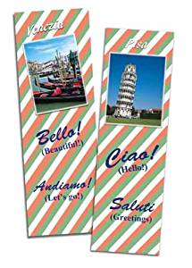 Italian English Bilingual Bookmarks - Set of 6 - Assorted images of Italy - For language learning, rewards, and gifts