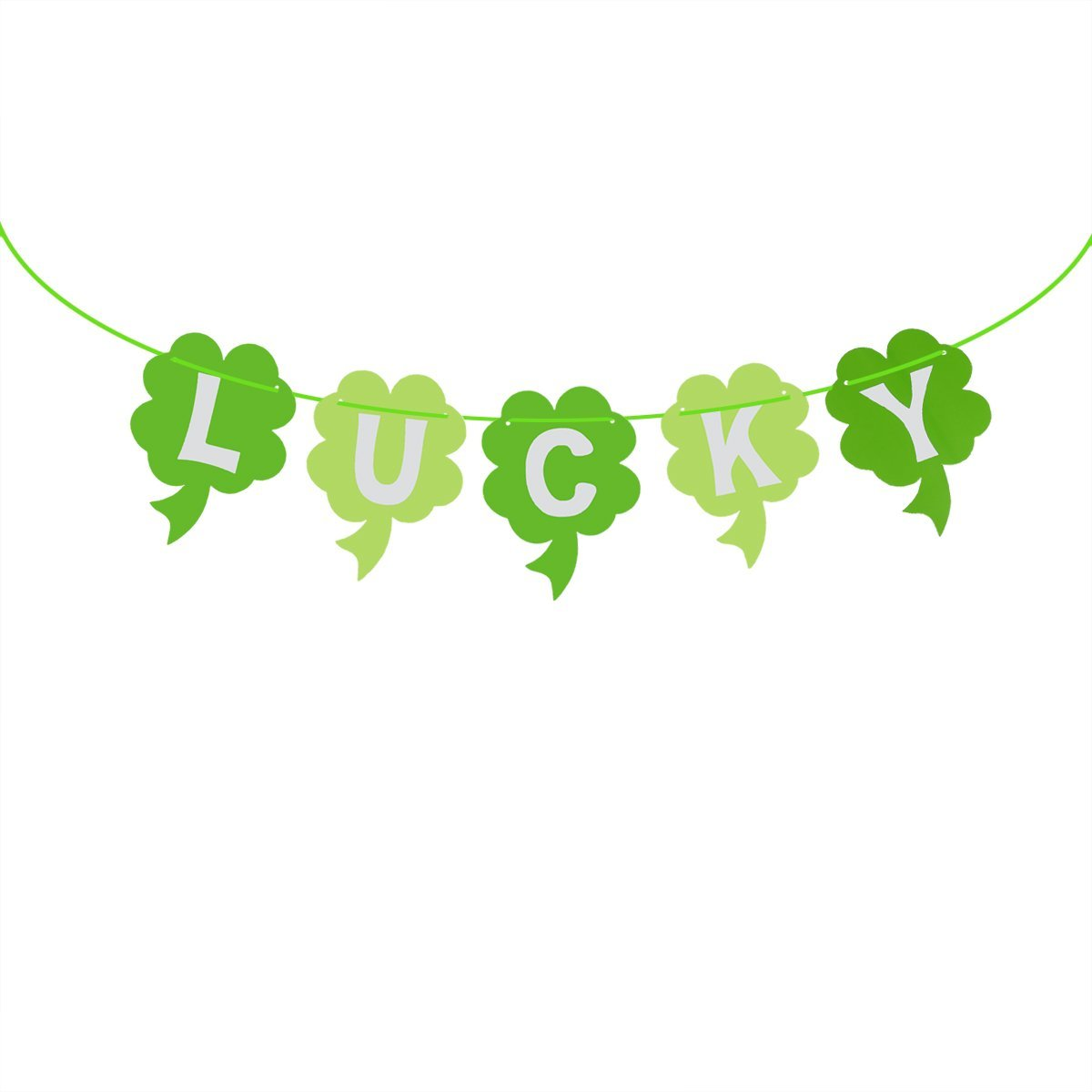 BESTOYARD Lucky Banner St Patrick's Day Banner Irish Green Shamrock Four Leaf Clover Garland Decor St.Patrick Day Party and Parade Decorations