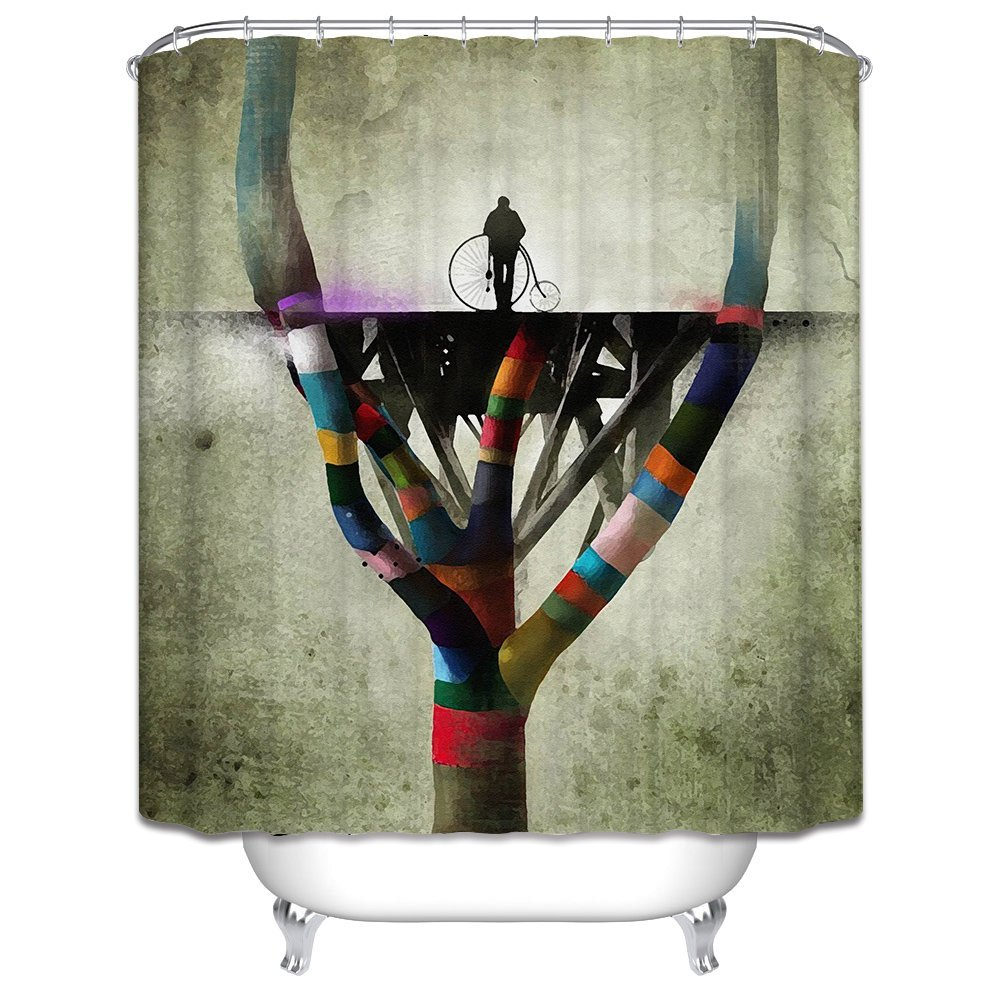 Mikmoki Polyester Shower Curtains Of Colored Trees And Bicyclesfor Motherhotelartwork